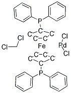 Structure of 11 Bisdiphenylphosphinoferrocene palladiumIIdichloride dichloromethane complex CAS 95464 05 4 - 1,1'-Bis(diphenylphosphino)ferrocene-palladium(II)dichloride dichloromethane complex CAS 95464-05-4